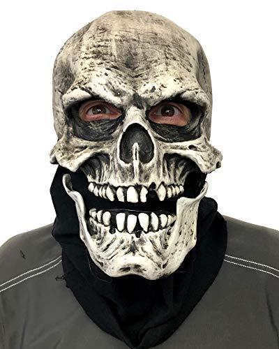 Death, UV Reactive Skull Mask, Human Skeleton Head, White, Zagone Studio