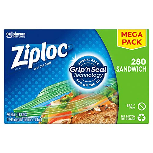 Ziploc Sandwich Bags with New Grip #039n Seal Technology 280 Count