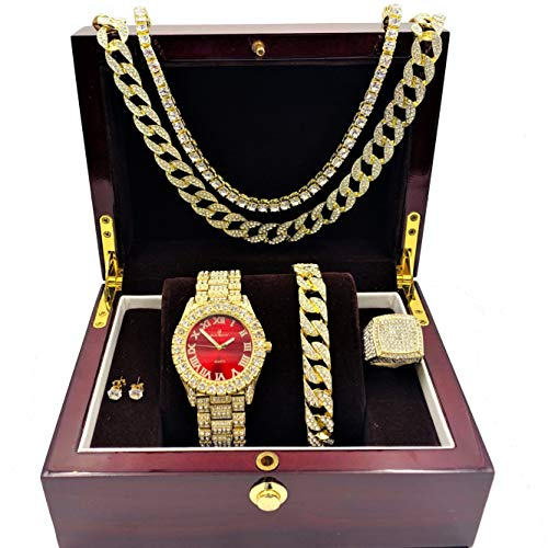 Fully Iced Mens Big Rocks Bezel Color Dial with Roman Numerals, Cuban Chain Bracelet, Cuban Necklace, Tennis Chain & Ring - ST10327CRNT (11, Gold - Bloody Red)