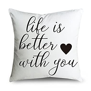 FabricMCC Cotton Linen Throw Pillow Cover - life is better with you - Home Decor - Wedding Gift - Cushion Cover 18 X 18 - Pillowcase for Couch