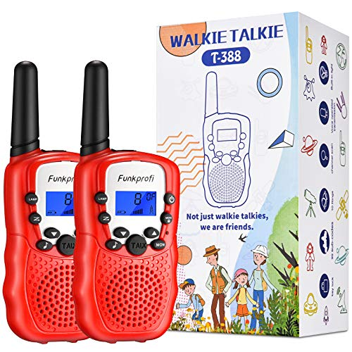 Funkprofi Walkie Talkies for Kids, 3 KMs Long Range 22 Channels Rechargeble Two Way Radios for Boys and Girls, Walky Talky for Age 3-12 Years Old Kids, Outside Play Toys for Hiking Camping (Red)