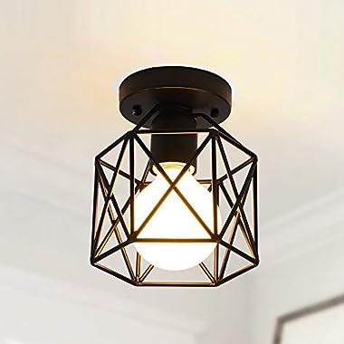 Create for Life Retro Vintage Industrial Mini Painting Metal Rustic Flush Mount Ceiling Light Pendant Light for Hallway
