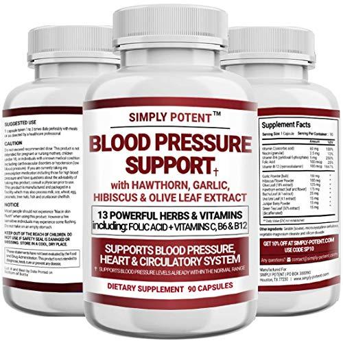 Blood Pressure Support Supplement - Healthy Heart, Cholesterol, Cardio, Hypertension, High BP - 13 Vitamins & Herbs - Folic Acid, Vitamins C B6 & B12, Hawthorn Olive Leaf, Garlic, Hibiscus, 90 Capsule