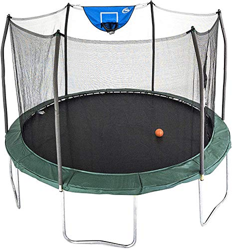 Skywalker Trampolines 12-Foot Jump N' Dunk Trampoline with Enclosure Net - Basketball Trampoline, Green