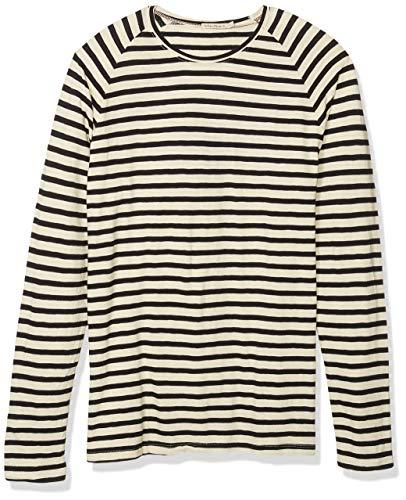 Nudie Jeans Unisex-Erwachsene Otto Stripes T-Shirt, Streifen/Weiß, X-Small