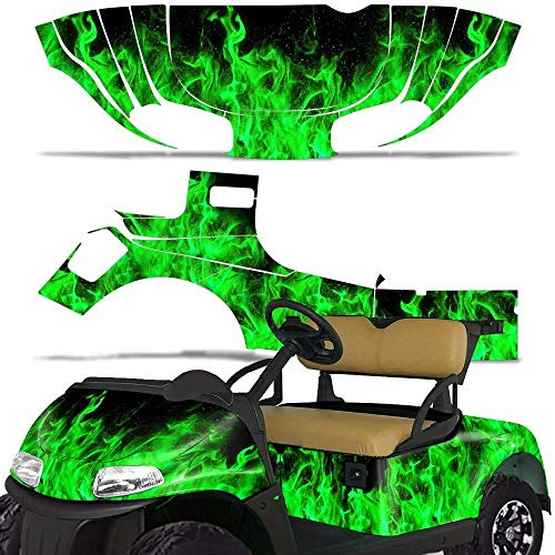 Wholesale Decals Golf Cart Graphics kit Sticker Decal Compatible with E-Z-GO RXV 2015-2018 - Green Flames