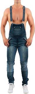 Men Overall Casual Jumpsuit Jeans,Male Wash Broken Pocket Trousers Suspender Pants Bodysuit Long Pants