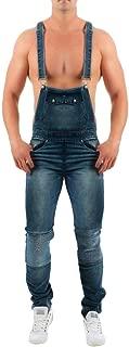 TOPUNDER Mens Wash Broken Pocket Trouser Suspender Pants Button Fly Overall Jumpsuit Jean