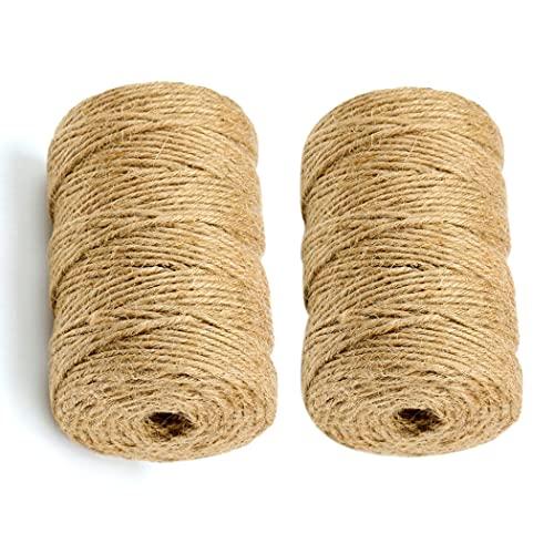 LUOGE Cuerda de yute de 2 x 100 m, 3 capas, 2 mm, cuerda para manualidades, cuerda de yute natural, cuerda decorativa para el hogar, jardín, bricolaje, artesanía, decoración y reciclaje