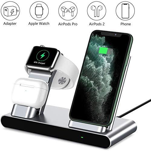Supporto di Ricarica per Apple Watch, Wireless Qi Fast Charging Stazione 3 in 1 Dock per Caricabatterie in Alluminio per iPhone X XS Max XR 8 Plus iPad AirPods e Iwatch Series 4/3/2/1
