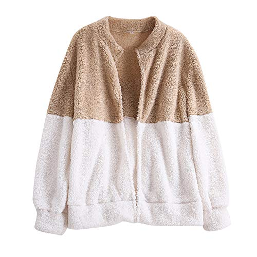 MORCHAN Manteau Femmes Mode Fluffy Veste Hiver Gilet Pardessus Outwear Jumper(Small,Beige)