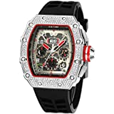 Mens Bling Punk Chronograph Watch Iced Out Diamond Designer Watch Unique Fashion Style Quartz Sports Wristwatch Silicone Leather Band