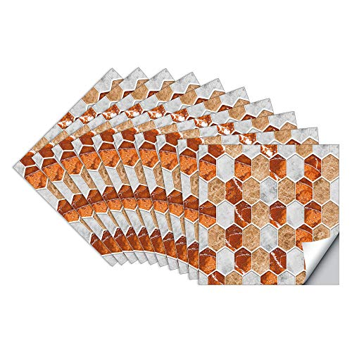 JFDecken Pegatinas de Baldosas Pared Cocina e Baño Azulejos Adhesivos Cristal Hexagonal Vinilos Pegatinas de Decorativo de Muebles 10 Piezas 15x15cm, Rouge Brique