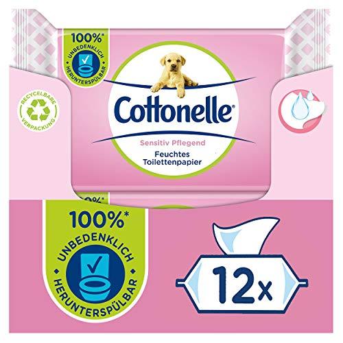 Cottonelle Feuchtes Toilettenpapier, Sensitive Pflegend - Parfümfrei, Biologisch Abbaubar, Plastikfrei, Wiederverschließbar, Vorteilspack, 12 x 42 Feuchttücher