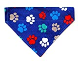 Colorful Paws Prints Reversible No Tie Slip Over the Collar Everyday Pet Cat Dog Bandana Petwear