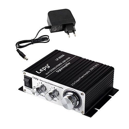 LEPY LP-2020A Amplificateur Audio stéréo Digital 20 W + Adaptateur 3 A pour iPhone Ordinateur Joueur Audio