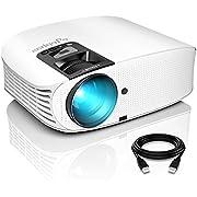 """Beamer, ELEPHAS 8000 Lumen Heimkino Video Beamer 1080P Full HD, 230"""" LCD Projector kompatibel mit TV Stick, HDMI, SD, AV, VGA, USB, PS4, Smartphone,Weiß [2021 Upgrade Version]"""
