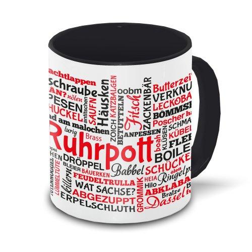 Ruhrpott-Tasse Tagcloud - weiß/schwarz - Tasse mit typischen Wörtern im Ruhrpott Dialekt