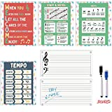 Music Posters for Classroom - Five Pack of Music Teaching Posters Includes 3 Educational Music Posters and 2 Dry Erase Music Staff Sheets with Markers. Posters are Made in USA.