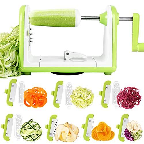Sedhoom Spiralschneider Gemüse Spiralschneider Julienneschneider mit 7 Klingen Zoodle maker, Zucchini Spaghetti Schneider, Zuchini Spiralschneider, Spiralizer für Gurke, Karotte(MEHRWEG)