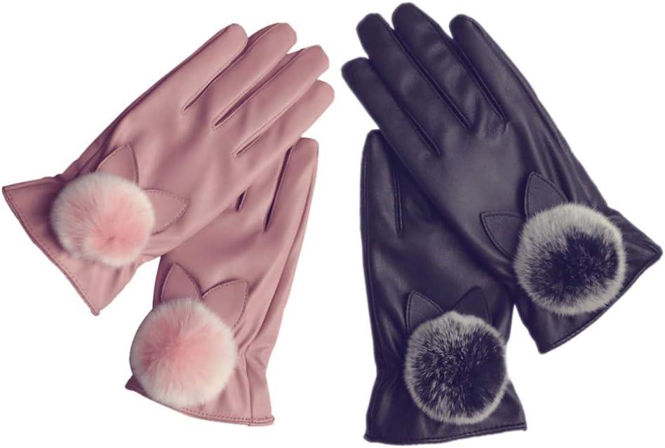 SUPVOX 2 Pair Women Fur Gloves Warm Touchscreen Gloves PU Leather Winter Gloves (Black Pink)