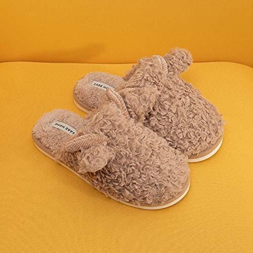 xinghui Hausschuhe für Erwachsene,Damen leichte Hausschuhe,Hausschuhe aus Baumwolle, Hausschuhe aus warmem und Samt, Hausschuhe aus Süßigkeiten aus Baumwolle-rote Bohnen Paste_42-43