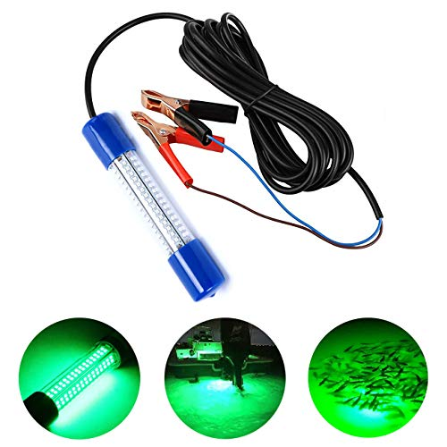 Ankey 12-24V 180 LED Lure Bait Submersible Fishing Light Attractants Underwater Night Fishing Finder with Battery Clip 19.7 Ft Power Cord (Green, 180LED)