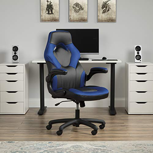 OFM ESS Collection Racing Style Bonded Leather Gaming Chair, in Blue (ESS-3085-BLU)