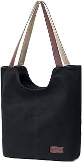 MORGLOVE Damen Vintage Canvas Umhängetaschen Freizeit Handtasche Groß Schultertasche (Schwarz)