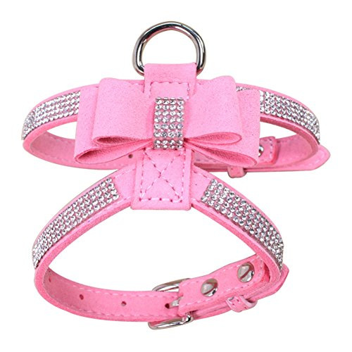 Norbi Fashion Puppy Harness Bling Rhinestone Pet Dog Harness Vest with Bowknot