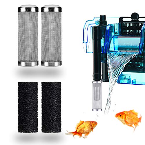 HONGECB Aquarium Aussenfilter, Edelstahlfilter Schutzstroemungs Fisch Garnelen Sichere Schuetzen Warenkorb Ineinander Greifen Netz, 2 STK. 16mm Rostfrei Stahl Filter, 2 STK. 20mm Filterschwamm