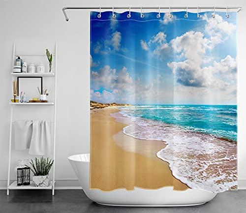 LB Tropischer Strand Duschvorhang Antischimmel Wasserdicht Badezimmer Vorhänge Türkis Meer und Blau Himmel 150x200cm Extra Lang Polyester Bad Vorhang mit Haken