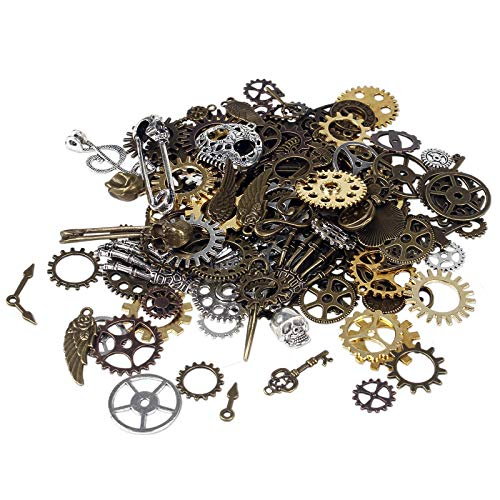 Package of Steampunk Accessories:200g includes antique sliver gears, gold, red copper, bronze, wing, wheel, key, skull musical note, skull hands afety pin, skeleton charms pendant for earrings or crafts(quantity may vary due to different sized gear b...