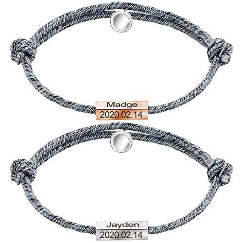 Pulsera trenzada de cuerda para hombres y mujeres, par de pulseras magnéticas ajustables, fácil de abrir, pulsera amor para él y para ella., Acero inoxidable, Sin gemas,