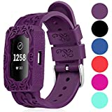 Replacement Bands Compatible for Fitbit Charge 2, IMPAWFAN Silicone Sport Breathable Wristbands with Air Holes, Adjustable Watch Strap with Protective Case for Fitbit Charge 2 HR, Men Women-Purple