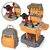 JOYIN Little Tool Workbench with Portable Backpack Kids Toy Construction Tool Toy Set Including Toys Screw, Nuts, Hammers and More Tool Accessories
