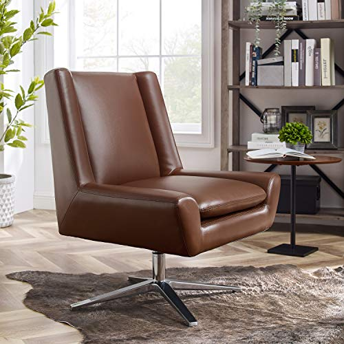 Art Leon Modern Faux Leather Swivel Accent Chair No Wheels with Chrome Finished Base for Living Room Bedroom, Cognac