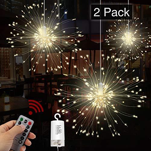 Feuerwerk LED Licht, Vivibel 2 Stück 120 LEDs Lichterkette mit 8 Modi Beleuchtungs wasserdicht Kupferdraht Lichter für Garten Terrasse Hochzeit Party Weihnachten