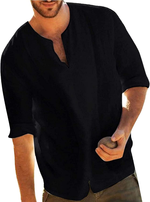 Camisas de lino para hombre de manga larga camisetas de verano hippie casual playa tops algodón lino Henley camisa