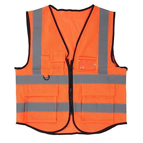 Chaleco reflectante transpirable, chaleco de seguridad en la construcción Chaleco reflectante naranja de alta visibilidad, para constructores de obras(Orange)