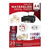 Waterslide Paper-20 sheet Inkjet Water Slide Paper,A4 Size clear waterslide paper for DIY Decals Gift Crafts Ceramics Candles and Custom Tumblers, Waterslide decal paper (Clear)