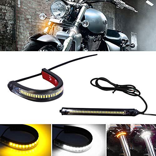 GTinthebox 2PC Flexible Switchback Dual-Color White & Amber LED Fork Turn Signal DRL Daytime Running Light Waterproof Adjustable Stips Bars kit Universal Fit Motorcycle Bike
