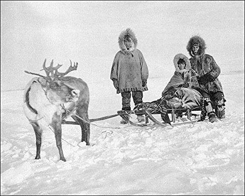 Eskimo/Inuit mit Rentier und Schlitten Alaska, 20 x 25 cm, Silberhalogenid