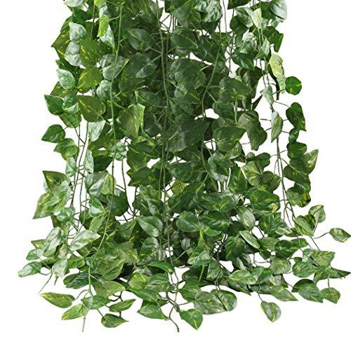 Lodou Guirnalda de hojas de hiedra artificiales de 25,6 m, 12 unidades, para colgar en el hogar, oficina, jardín, pared al aire libre, cubierta verde para decoración de fiesta de selva