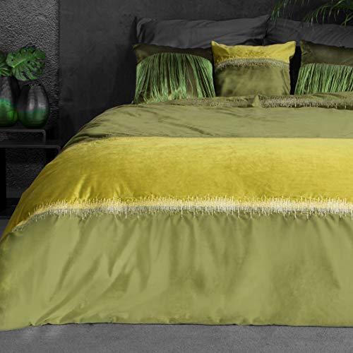 Eurofirany Bettüberwurf Velvet Samt Tagesdecke Decke Überwurf Metallnaht Elegant Edel Glamour Schlafzimmer Wohnzimmer Gästezimmer Lounge, Olivgrün, 220x240cm