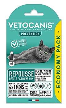 Vetocanis Anti-puces et Anti-Tiques Répulsif Efficace 4 X 1 Mois de Protection Pack Economique pour Chat, 4 pipettes