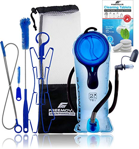 Hydration Bladder & Cleaning Kit 5in1 | BPA free Water Bladder | 2L Leak Proof Water Reservoir Hydration Pack | Large Opening | Tasteless TPU Material | Quick Release INSULATED Tube & Shutoff Valve
