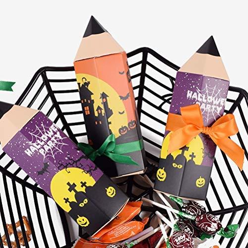 BASOYO 50 stuks Halloween potlood vorm papieren zakken truc of traktatie zakken,Candy Gift verpakking vak snoep doos…