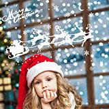 ASANMU Fensterbilder Weihnachten Fenstersticker 4 Stücke 43 * 30 cm Wiederverwendbare Winterliche Fenster Aufkleber Wandtattoo PVC-Sticker Schneekristallen und Schneesternen (Weihnachtshirsch) - 4