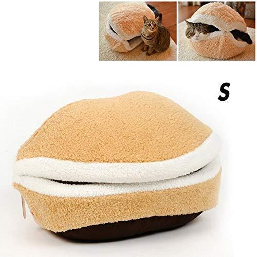 Zomsame Cama para mascotas lavable en forma de concha con forma de hamburguesa para gatos y perros, saco de dormir extraíble para mascotas